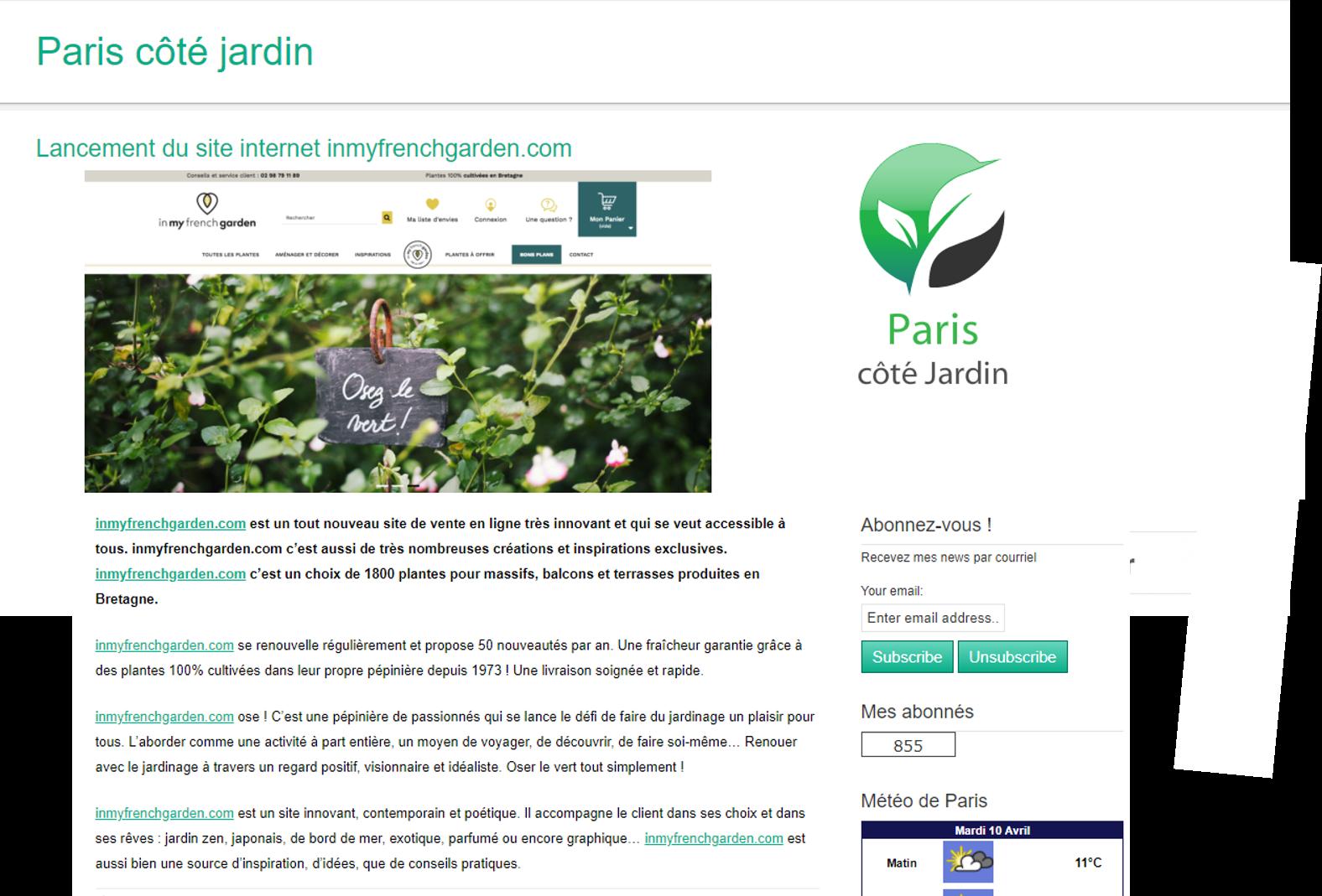Paris côté jardin parle de nous ! - In my french garden